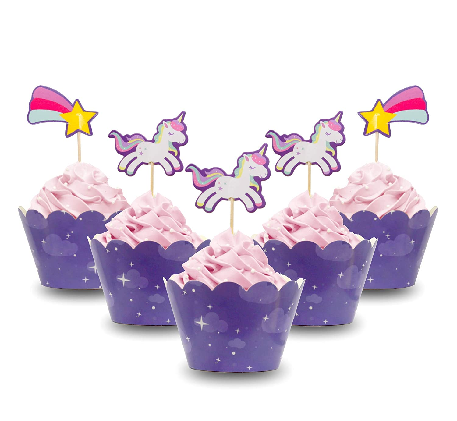 Amazon JMAC Style Unicorn Cupcake Toppers Wrappers Double Sided Purple Birthday Party Supplies Set Of 12 Kitchen Dining