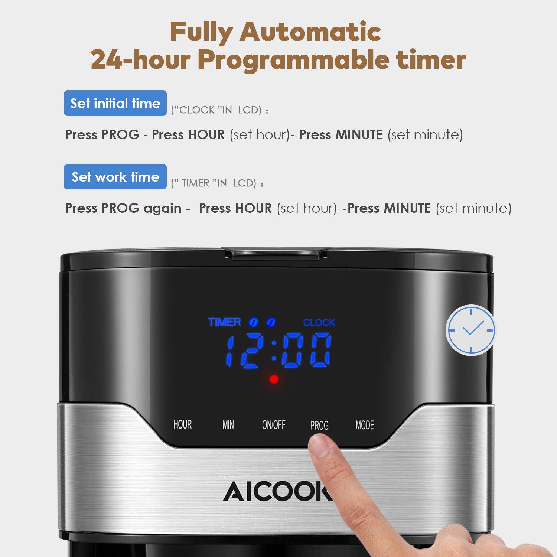 Aicook Cafetera con Temporizador Programable, Cafetera Goteo para 12 Tazas, Máquina de Café con Pantalla Táctil, Filtro Permanente, Sistema Antigoteo, ...