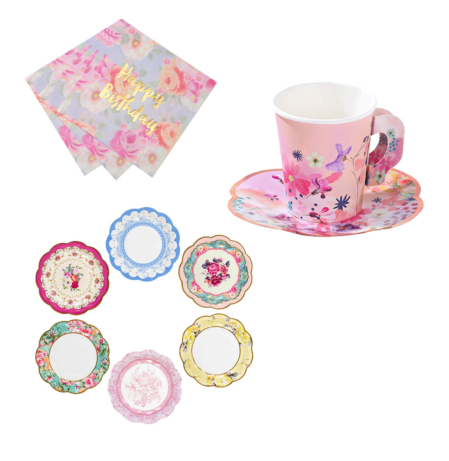Talking Tables Vintage Tea Party Supplies for A Birthday Party | Vintage Floral Tea Cups and Saucer Sets, Paper Party Plates and Happy Birthday Napkins