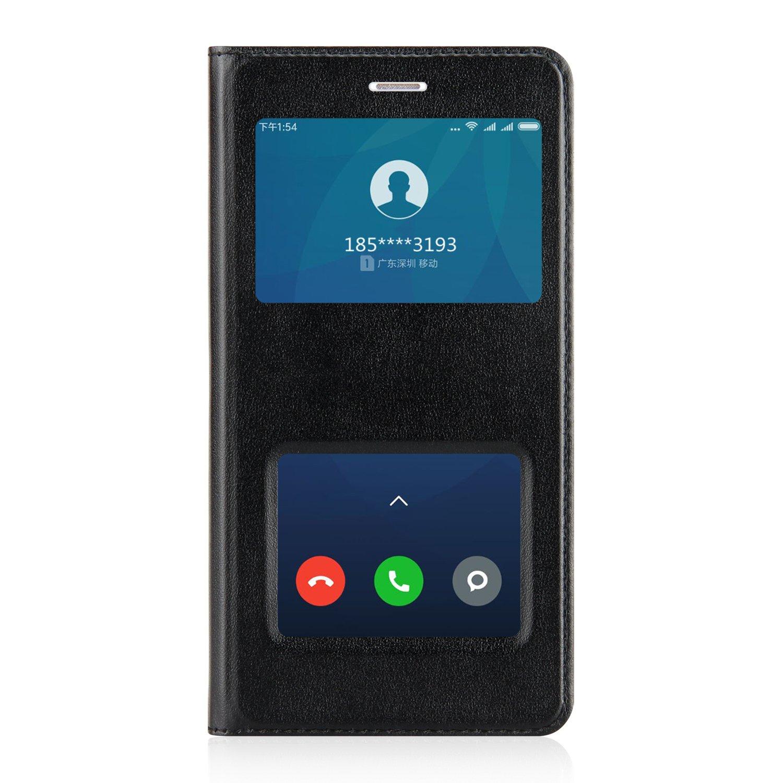 Ambaiyi Flip Custodia in Pelle Protettiva e View Finestra Cover per Xiaomi Redmi 4A , Redmi 4A Cover , Nero