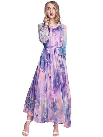 Medeshe Maxi Long Dress Women  High Quality Lavender Lantern Sleeve Chiffon  Sundress (Length  96b2b9d93