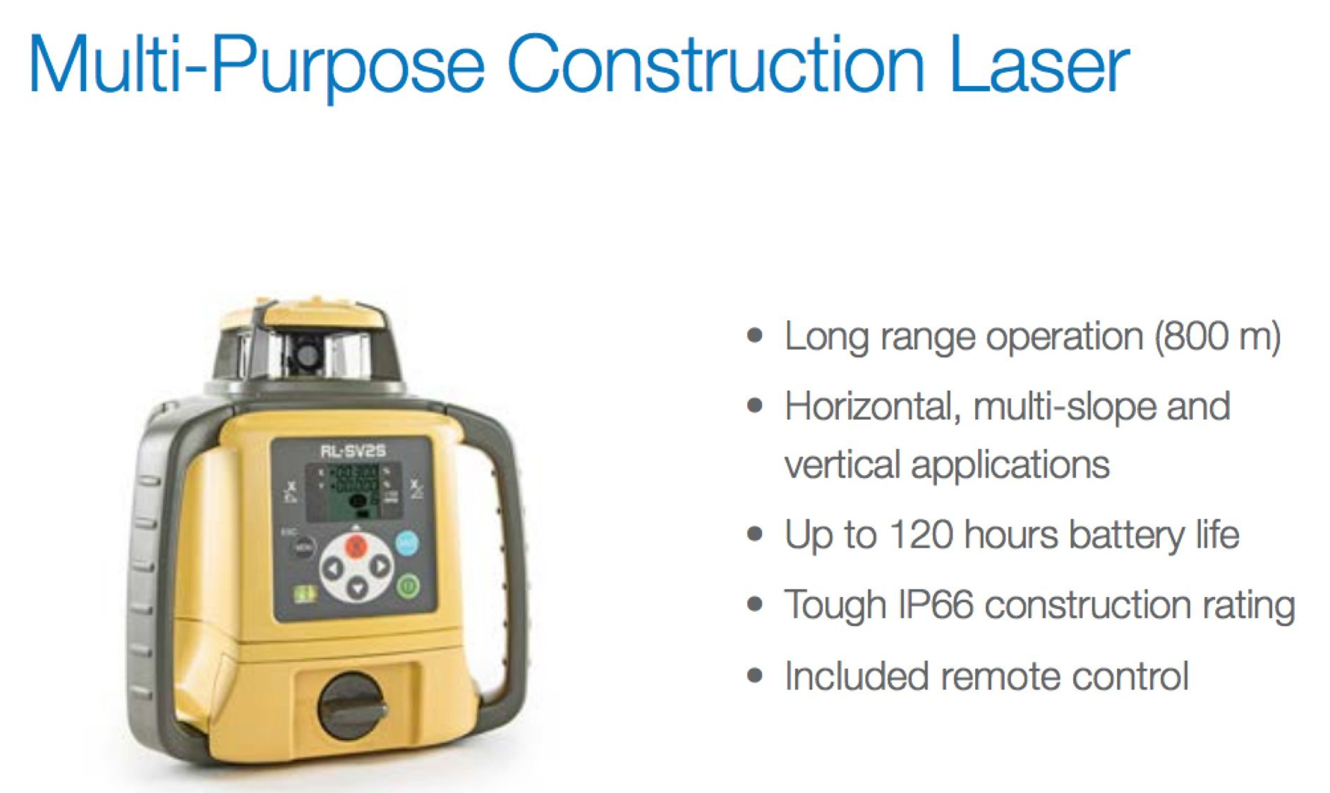 Topcon RL-SV2S Dual Grade Rotary Laser with BONUS EDEN Field Book | IP66 Rating Drop, Dust, Water Resistant | 800m Construction Laser | Includes LS-80L Receiver, Detector Holder, Hard Case by TOPCON (Image #5)