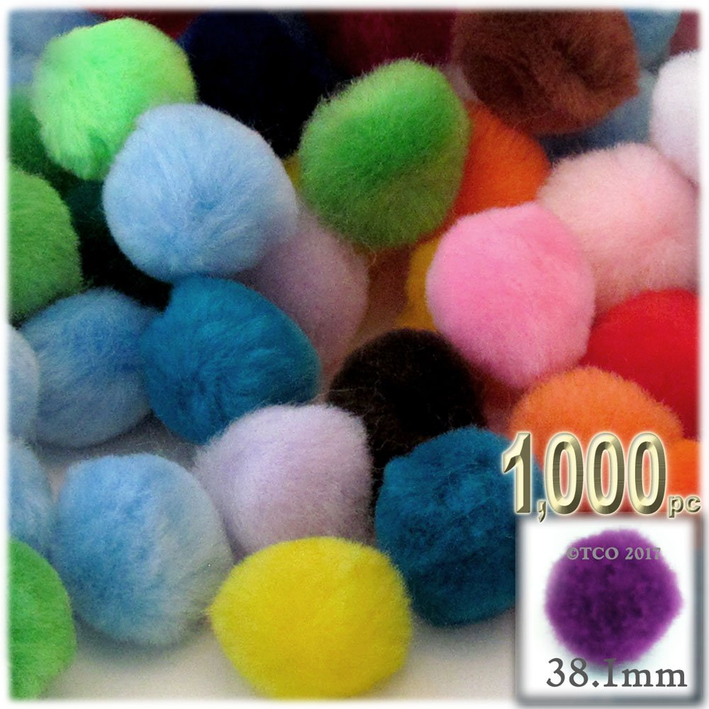 The Crafts Outlet 1,000-Piece Multi purpose Pom Poms, Acrylic, 38mm/about 1.5-inch, round, Multi Mix