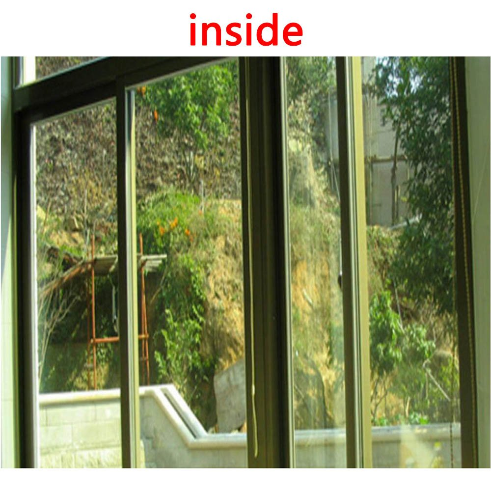 HOHOFILM 35.4Inch x 16.4Feet Roll One Way Privacy Window Film Gold Silver Mirror Glass Vinyl Film Anti UV Heat Rejection Self-Adhesive Window Tint