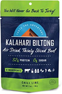 product image for Lime Chili Kalahari Biltong, Air-Dried Thinly Sliced Beef, 2oz (Pack of 8), Sugar Free, Gluten Free, Keto & Paleo, High Protein Snack