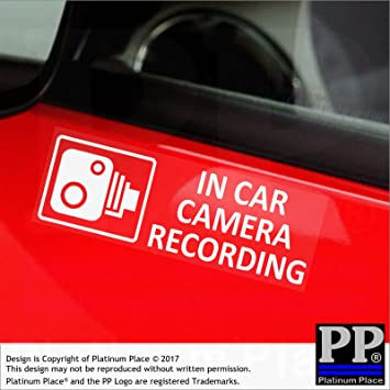 5 x external small in car camera recording window stickers 87mm x 30mm cctv