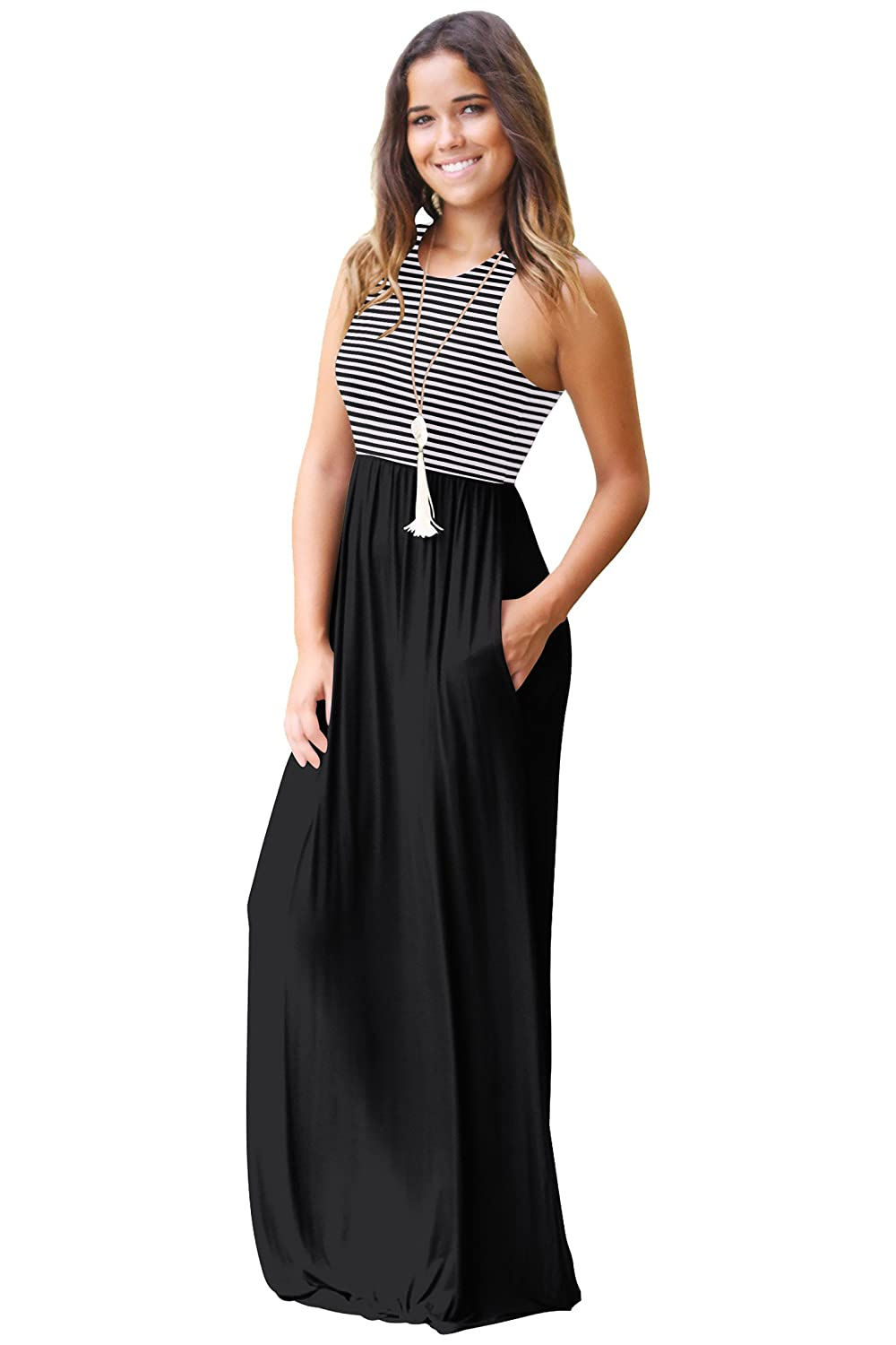 41ee8da123 Mintsnow Women's Summer Sleeveless Dresses Striped Casual Long Maxi Dress  with Pockets S at Amazon Women's Clothing store: