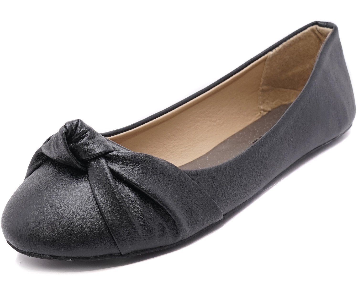 Charles Albert Women's Knotted Front Loafer Leather Round Toe Ballet Flats (8, Black PU)