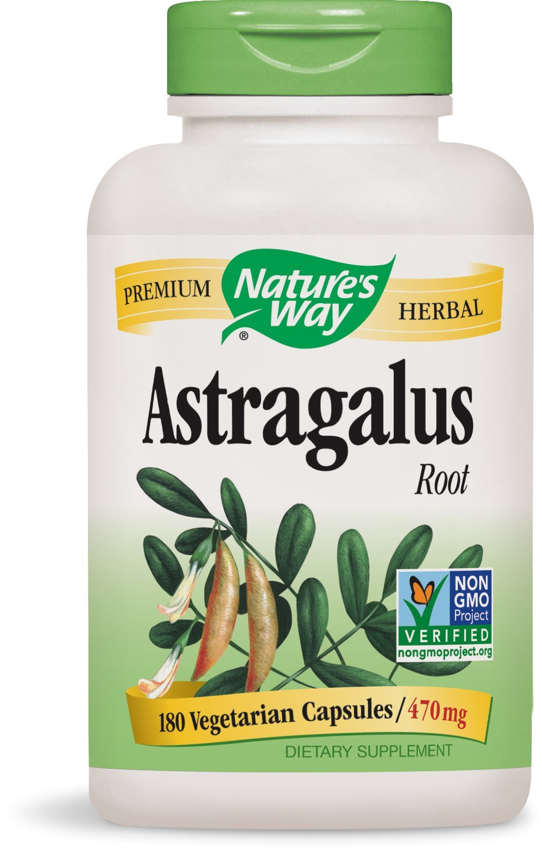 Nature's Way Astragalus Root; 470 mg per serving; TRU-ID Certified; Non-GMO Project; Vegetarian; 180 Vegetarian Capsules
