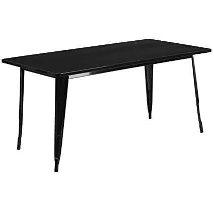 Amazon Com Flash Furniture 31 5 X 63 Rectangular Black Metal