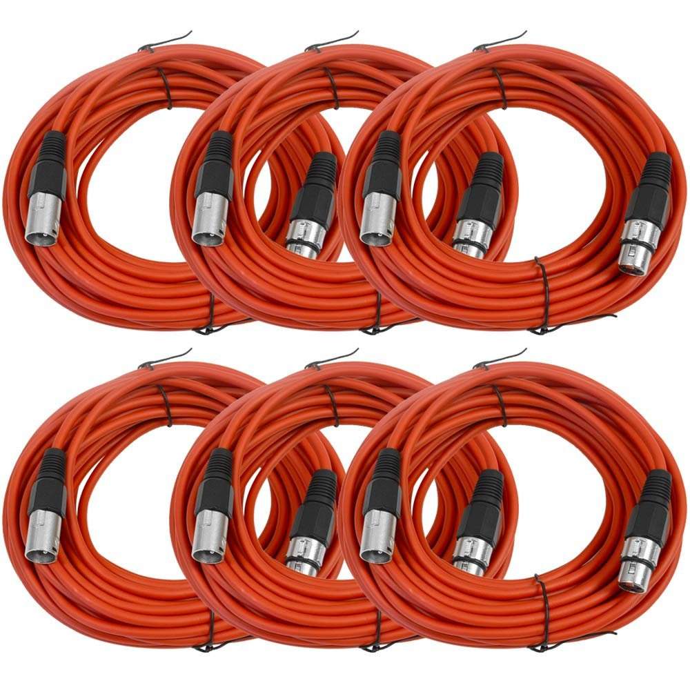 SEISMIC AUDIO - SAXLX-50 - 6 Pack of 50' Red XLR Male to XLR Female Microphone Cables - Balanced - 50 Foot Patch Cords