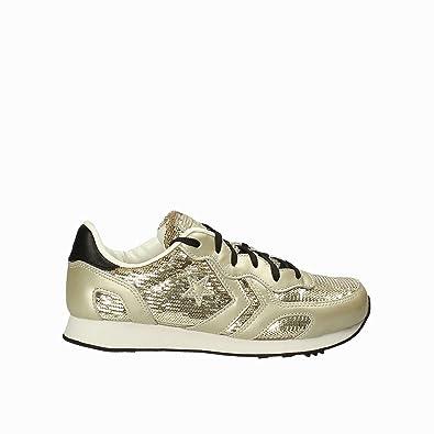 Scarpe Donna Auckland Racer OX Sneakers in Pelle e Tessuto Gold 559169C Converse sYpEN60