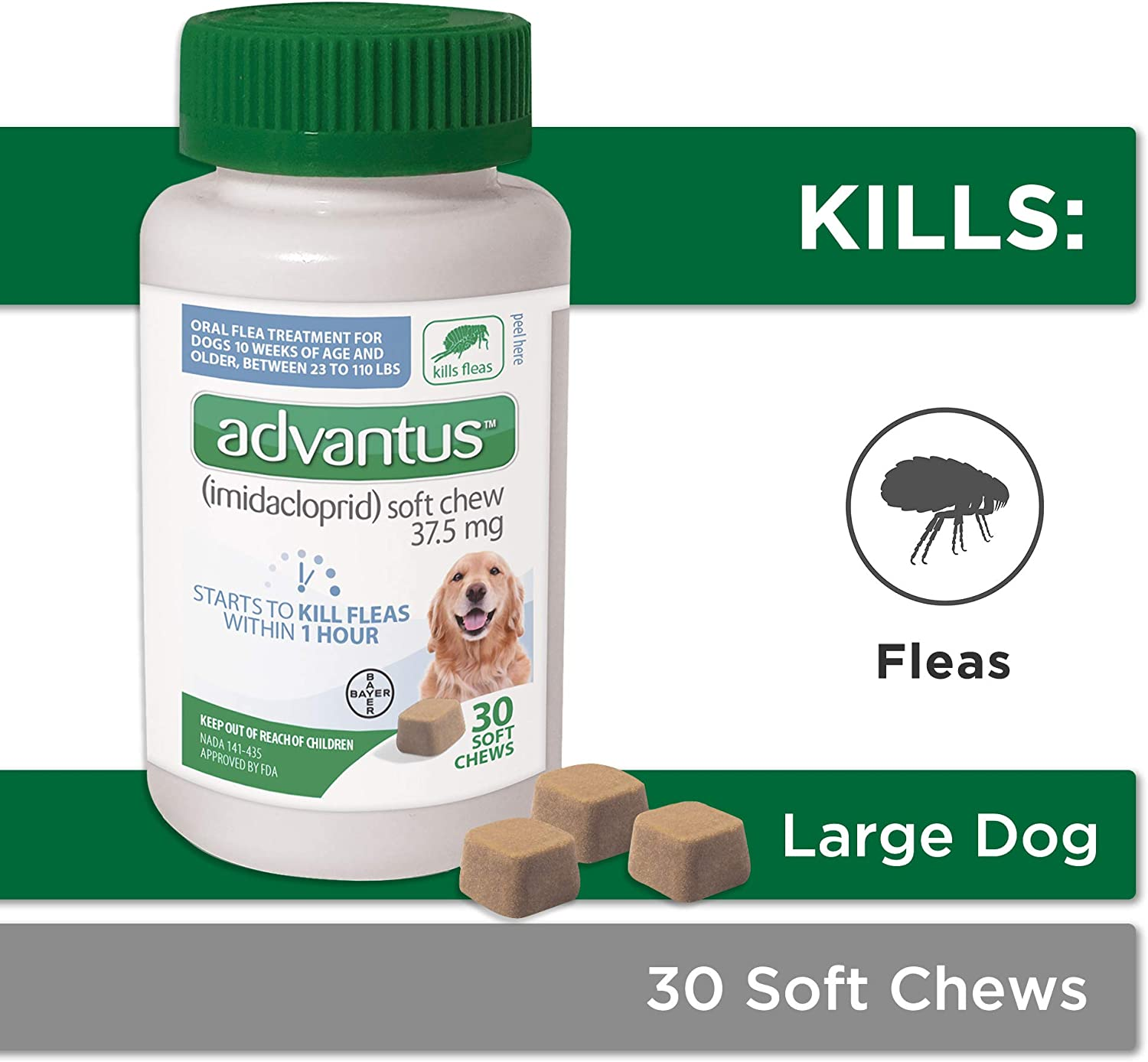 Bayer Advantus Oral Flea Soft Chews for Large Dogs(30 Count)
