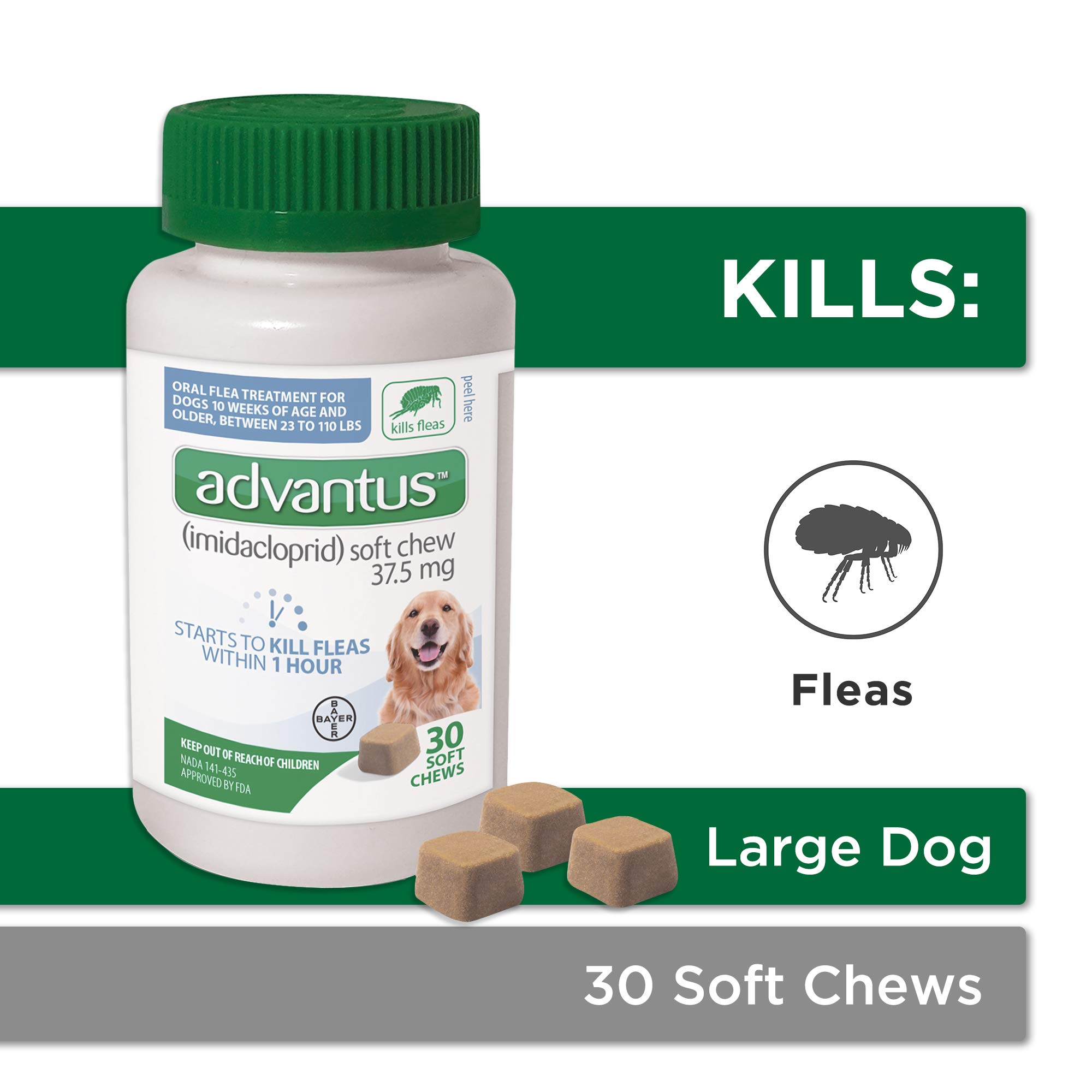 Bayer Animal Health Advantus, Large Dogs 23 - 110 lbs, Soft Chew Flea Treatment, Savory Meat Flavored, Same-As-Vet, 30 daily doses, White/Green - 85274422 by Bayer Animal Health