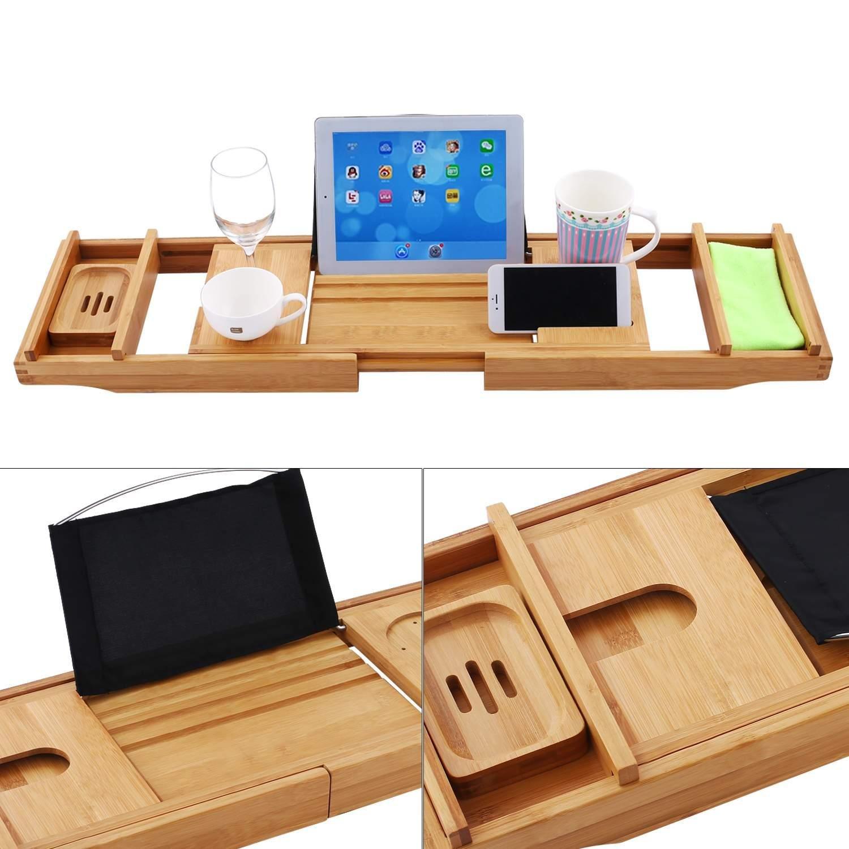 OPLON Luxury Bathtub Caddy Tray Adjustable Bamboo Wooden Bathtub Tray Free Soap Holder (O)