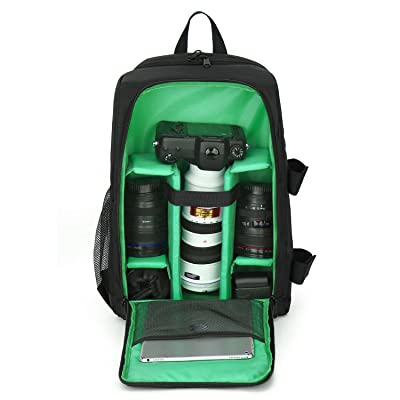 """DSLR Camera Backpack Waterproof Light Weighted Laptop Camera Bag Double Function for Lens,Mirrorless Flashes Tripod Holder with Size 17.32"""" X 7"""" X 12.4"""""""