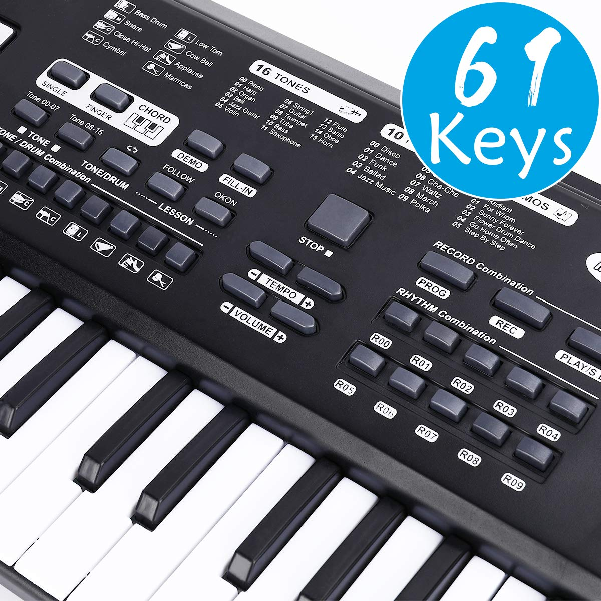 WOSTOO 61 Key Piano Keyboard Portable Electronic Kids Piano Keyboard  Beginner Digital Music Piano Keyboard & Microphone Teaching Toy Gift for  Kids Boy
