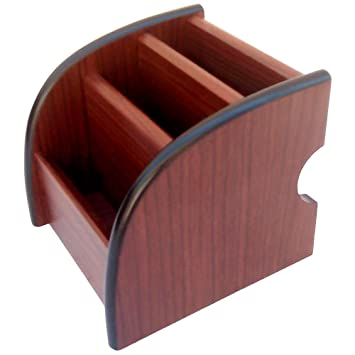 Wooden Mobile Holder Office Stationery Pen Stand Table
