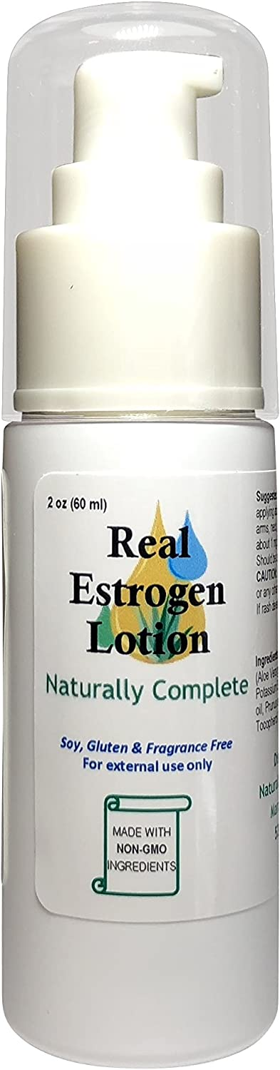Naturally Complete Estrogen Lotion 2 oz. Bottle | Menopause Relief | Non GMO | Soy Free | Gluten Free | Fragrance Free | Made in The USA