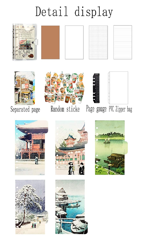 FUYUFU PVC Cuaderno De Hojas Sueltas Cuaderno De Cubierta De Transparente DIY Blocs De Notas Casas antiguas, A5