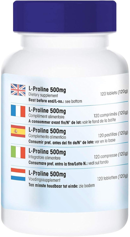 L - Prolina 500mg - Vegana - Aminoácido - 120 Comprimidos: Amazon ...