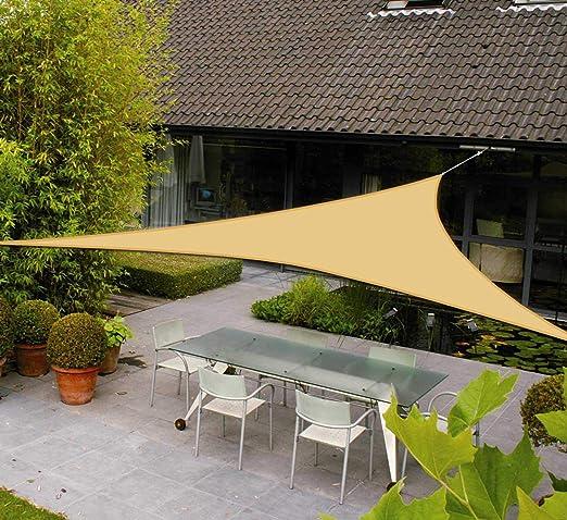 AXT SHADE Toldo Vela de Sombra Triangular 3, 6 x 3, 6 x 3, 6 m, protección Rayos UV Impermeable para Patio, Exteriores, Jardín, Color Arena: Amazon.es: Jardín
