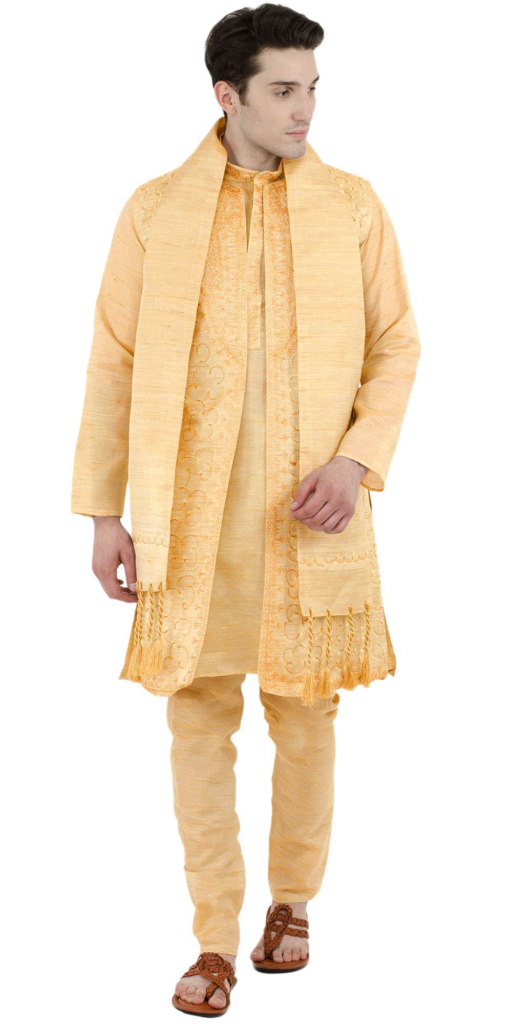 Wedding Kurta Pajama 4-Pieces Set Mens Party Wear Casual Long Sleeve Button Down Shirt Dress -L Gold