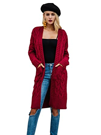 Simplee Women s Winter Warm Casual Loose V Neck Cardigan Sweater ... 25886fec8