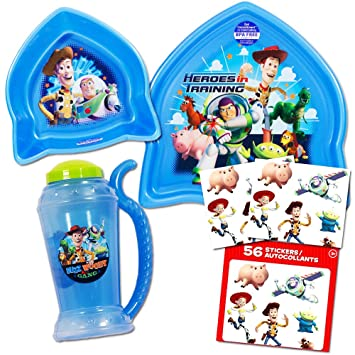 disney pixar toy story toddler dinnerware set plate bowl cup stickers - Toy Story Toddler Sheets