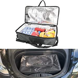 Tesla Model 3 Y X Frunk Cooler Bag, Front Trunk Insulated Zipper Cooler Organizer with Mesh Pockets
