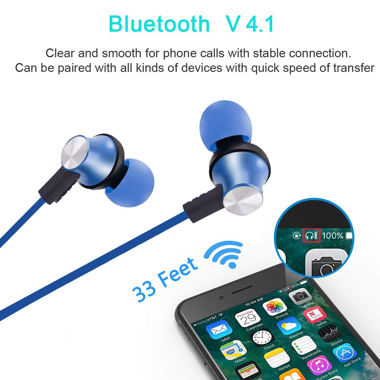 Auriculares Bluetooth running, Auriculares inalámbricos magnéticos, Portátil Mini Auriculares deportivos con Bluetooth 4.1 Manos Libres para iPhone X 7 ...
