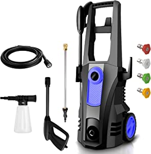 TEANDE Electric Pressure Washer 3500 PSI High Pressure Power Washer Machine with 4 Nozzles, Soap Bottle and Hose Reel, 2.6 GPM 1800W Best for Cleaning Homes, Decks, Cars, Driveways, Patios(Blue)