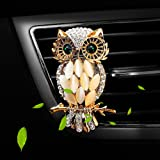Air Freshener Car Perfume Cute Owl Diamond Car Aromatherapy Essential Oil Diffuser Locket with Vent Clip and Best Car Perfumes Best Home Decoration Car Decoration , AMind (Owl No.1)