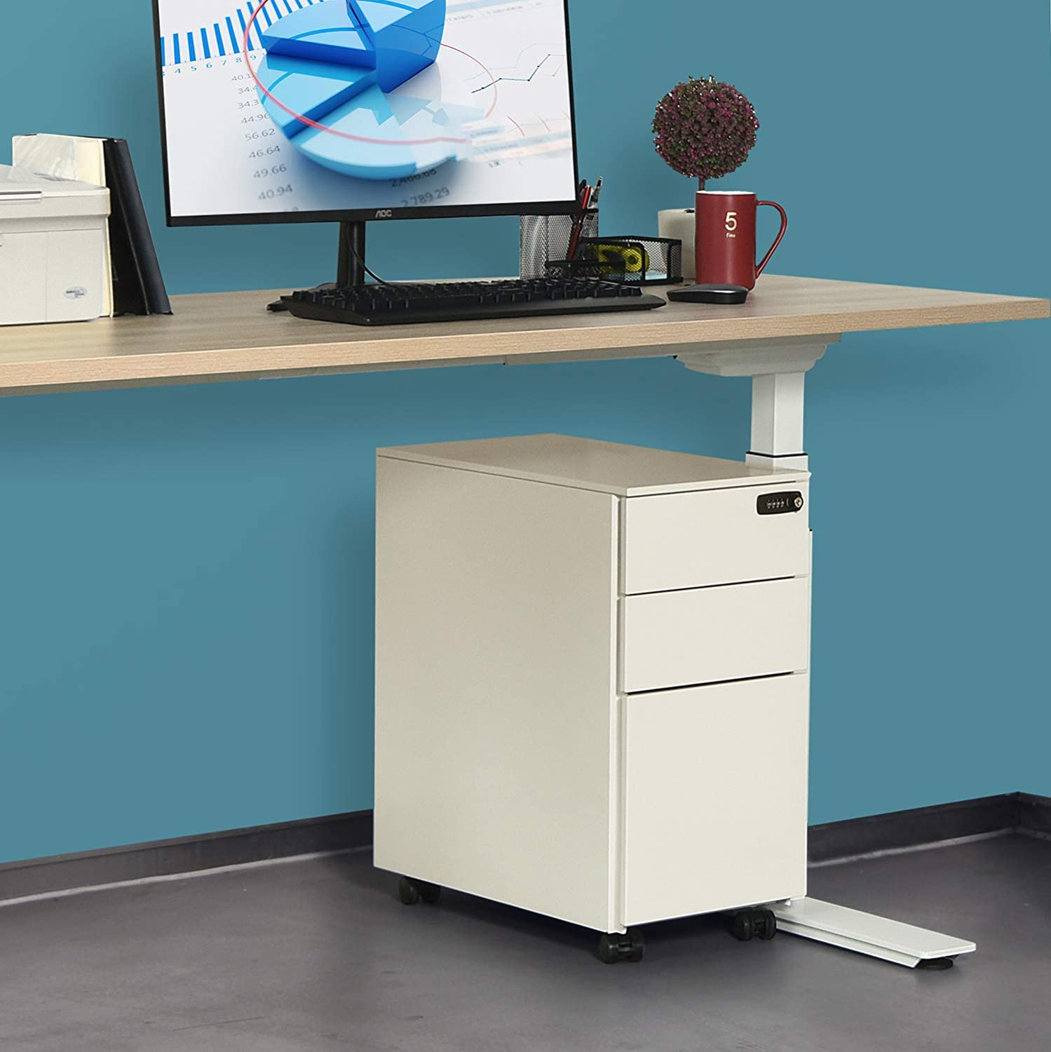 Metal Filing Cabinet for Legal//Letter Size White File Cabinet with Lock Wheels AD ARAZY 3 Drawer File Cabinet