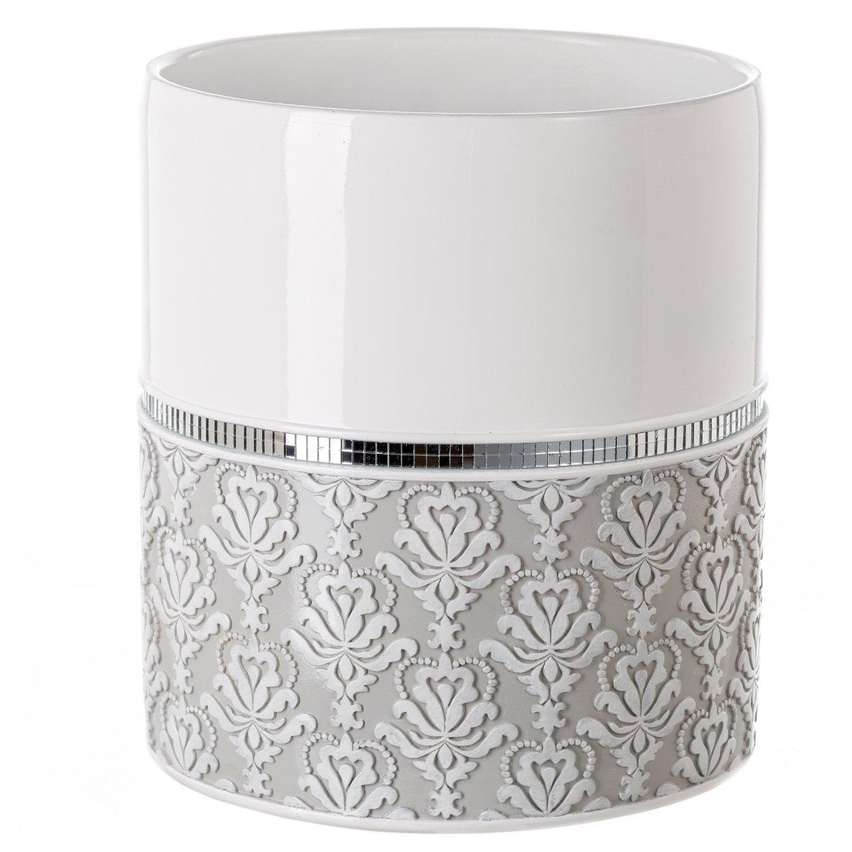 Creative Scents Mirror Damask Bathroom Trash Can, Decorative Wastebasket, Design- Space Friendly Bath Rubbish Dust Bin (Grey & White) by Creative Scents