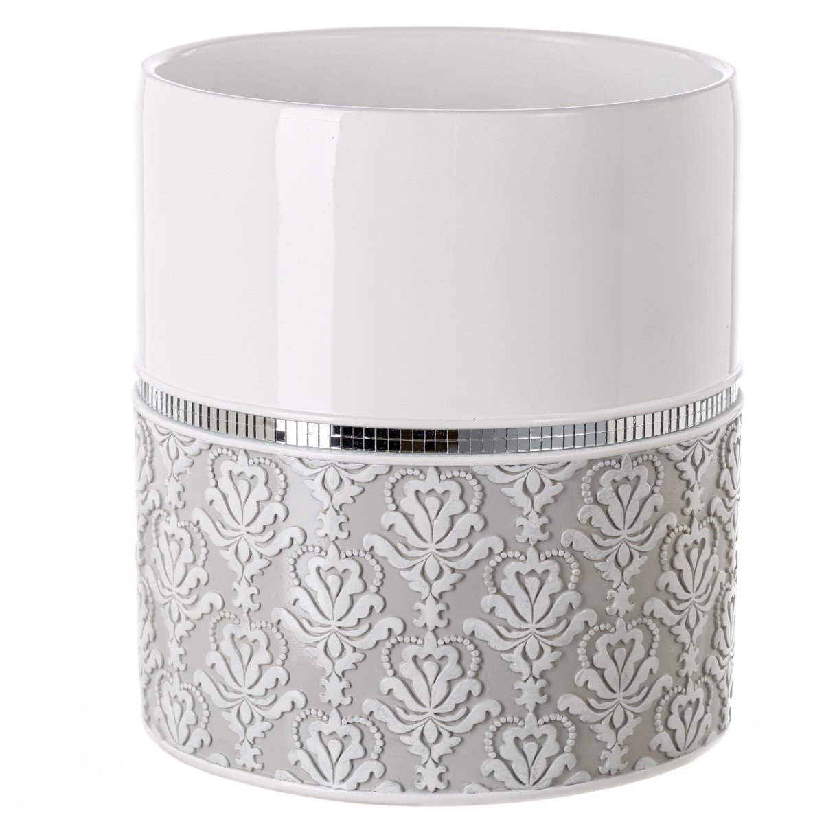 Creative Scents Mirror Damask Bathroom Trash Can, Decorative Wastebasket, Design- Space Friendly Bath Rubbish Dust Bin (Grey & White)