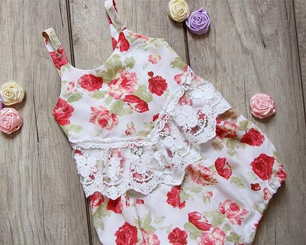 fa45b2d11145 Amazon.com  Flowers Lace Baby Girl Romper Flower Bubble Romper Birthday  Gift  Handmade