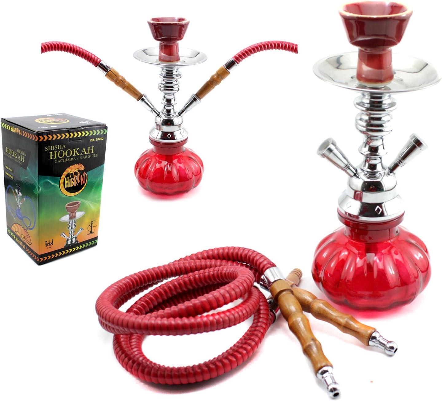 HIBRON® Cachimba shisha hookha pequeña 25cm 2 mangueras, kit de iniciación completa premium (rojo)