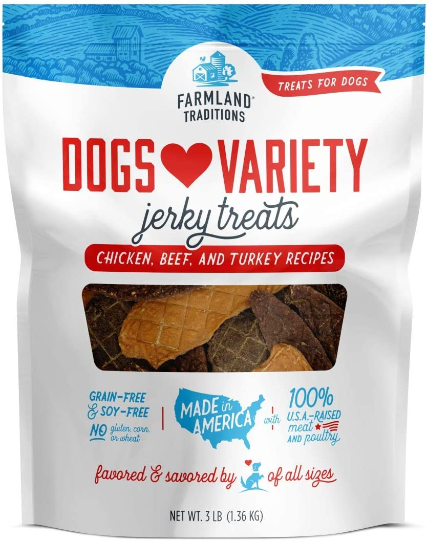 Farmland Traditions Filler Free Dogs Love Variety Premium Jerky Treats for Dogs, Chicken, Beef Turkey, 3 lb. Bag