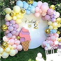 LDFWAYAU 122Pcs Rainbow Balloon Arch Garland Kit - Pink Gold Yellow Blue Purple Latex Balloons with Balloon Accessories…