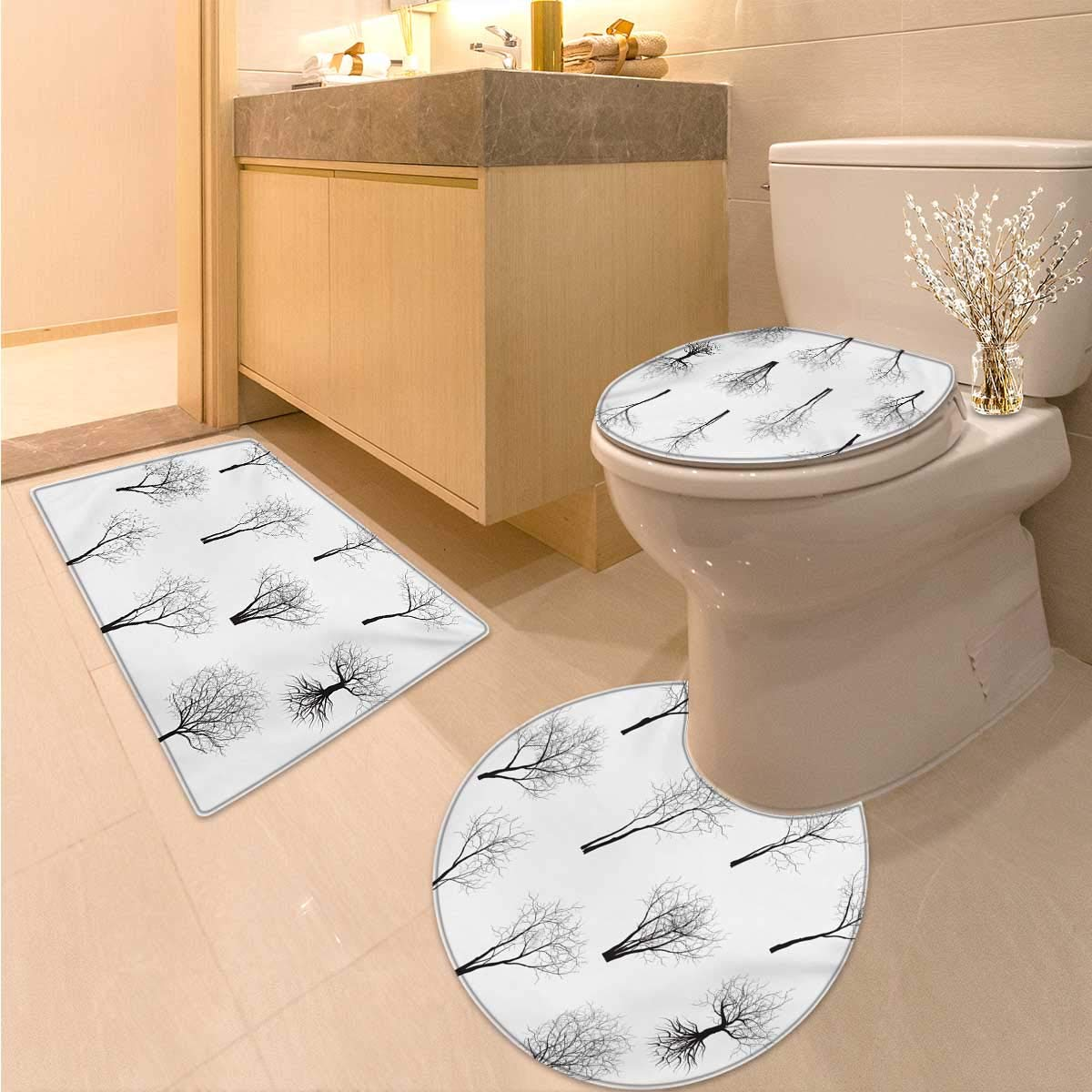 Anhuthree Forest 3 Piece Toilet mat Set Spooky Horror Movie Themed Branches in The Forest Trees Nature Artwork Print Printed Bath Rug Set Black and White