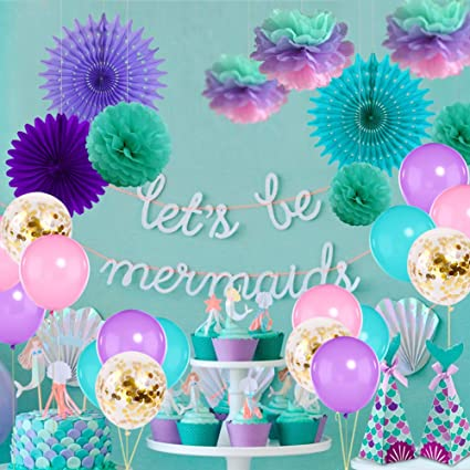 Mermaid Unicorn Birthday Party Centerpiece Decorations Assorted Tissue Paper Fan Multi Colored Pom Poms Decor