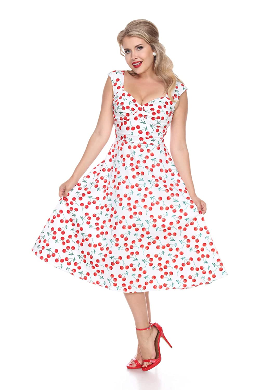 Rockabilly Dresses | Rockabilly Clothing | Viva Las Vegas Bettie Page Bettie on Holiday (Cherries) $118.00 AT vintagedancer.com