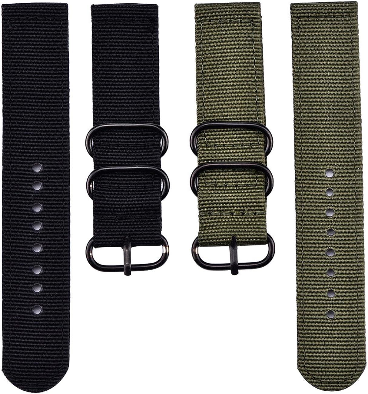 2 Correas de Repuesto de Nailon para Reloj, Verde Militar y Negro