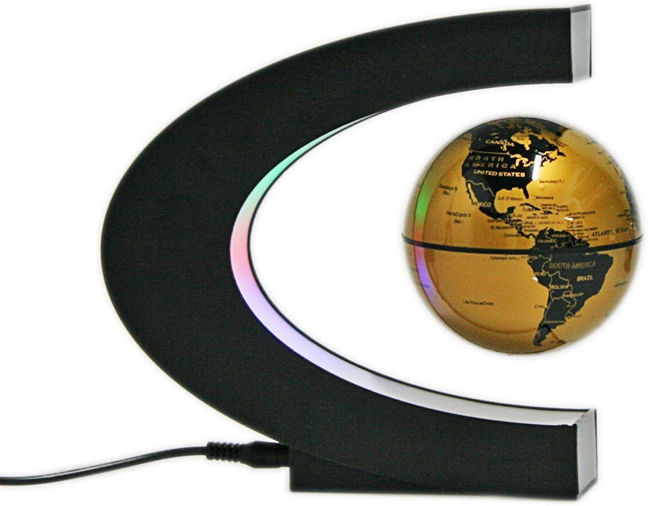 Senders Floating Globe with LED Lights C Shape Magnetic Levitation Floating Globe World Map for Desk Decoration (Gold)