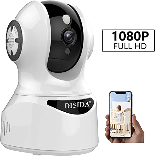 DISIDA AZ-F25S-IP2X 2Mega WiFi Camera – Wireless Indoor Camera with Two Way Audio Motion Detection Night Vision PTZ for Monitor Home and Office Surveillance Compatible with Alexa