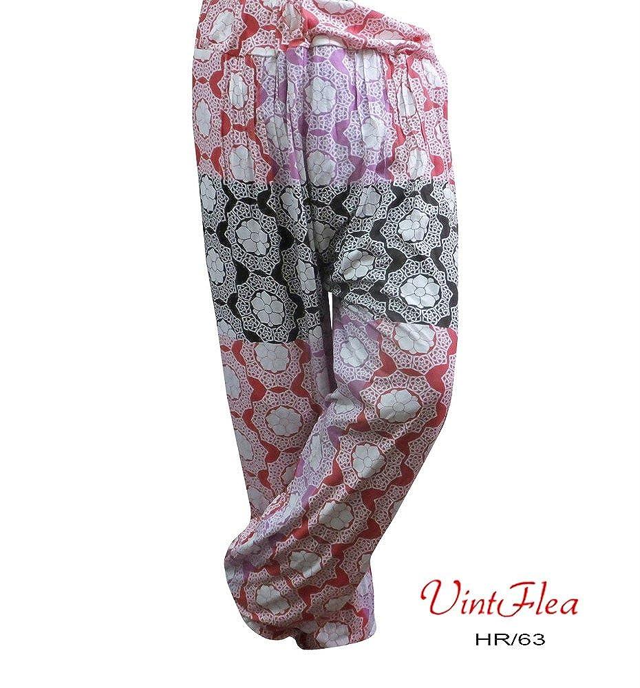 harem gitana estampado floral bohemio pijama indio pantalón hippie vintflea de las mujeres: Amazon.es: Ropa y accesorios