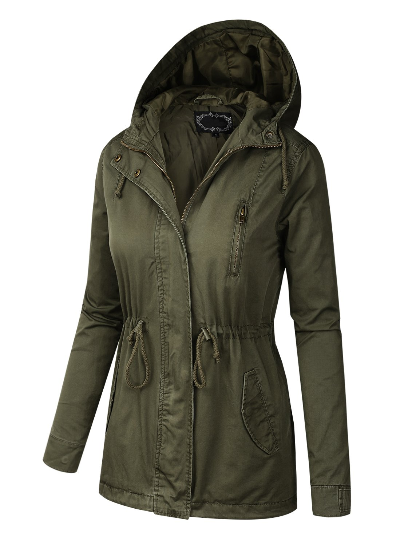 BILY Women Junior Fit Military Anorak Safari Hoodie Jacket Olive Small