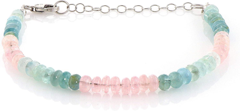 Pulsera de cuentas multicolor de berilo de aguamarina, plata de ley, gema natural multicolor, azul aguamarina y rosa pálido, piedra natal de marzo, apilable, regalo