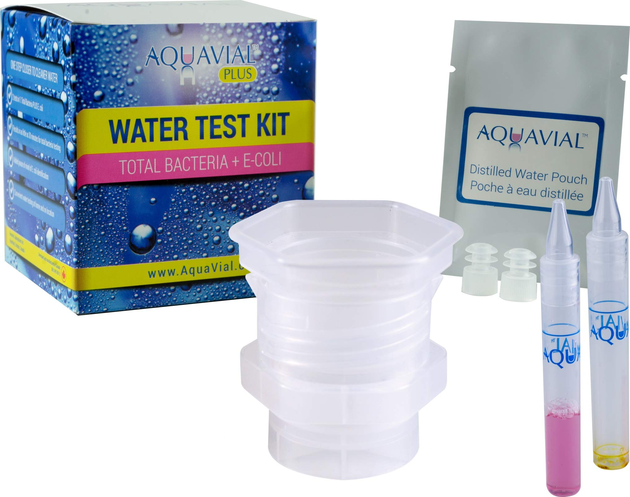 Aquavial Plus | Water Test Kit for Total Bacteria & E. Coli in Drinking & Pool Water | 2 Tests in 1 by AquaVial